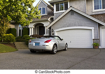 At Home - Sporty car parked in front of home during summer