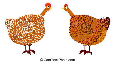 chicken, vector illustration