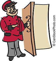 doorman in traditional costume at the door vector