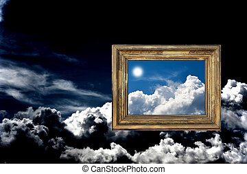 Cloudy sky with frame