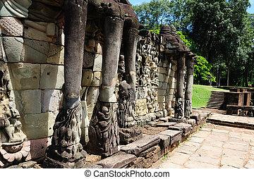 camboya, -, angkor, -, terraza, elefantes