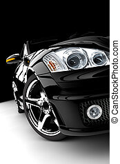 Black car - A modern and elegant black car illuminated