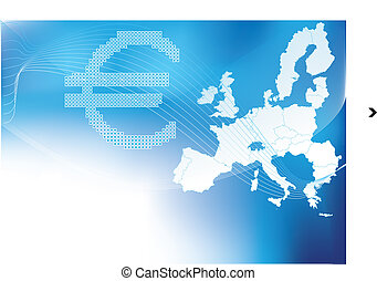 Euro in halftone europa,europe map - Euro in halftone europa...
