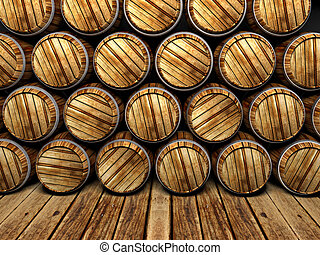 wall of wooden barrels
