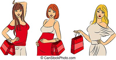 Beautiful fashion shopping girls