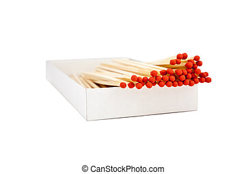 matches - red tipped wooden match sticks in a match box