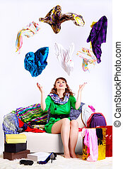 shopaholic woman - portrait of happy young shopaholic woman...