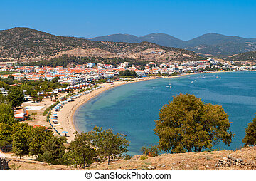 Beach of Nea Peramos in Greece - Beach of Nea Peramos near...