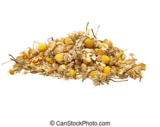 dried camomile on white background
