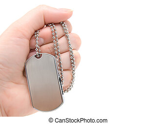 blank army dog tags isolated on white background