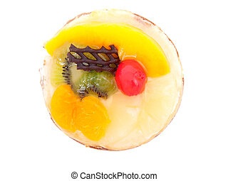 confectionery - Mandarin tartlet on a white background