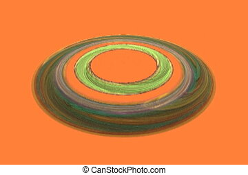 circles rotating on orange, seamless loop animated fractal