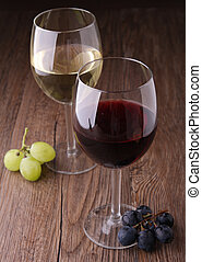 red and white wineglasses - red and white wine