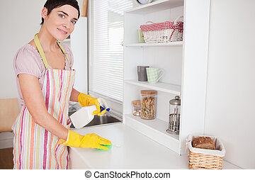 Beautiful woman cleaning a cupboard in the kitchen