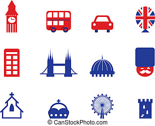 London & English icons and design elements isolated on white...