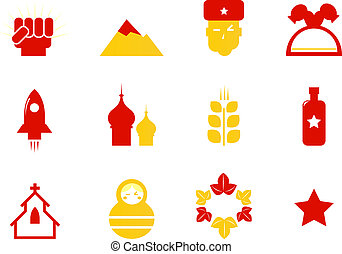 Russia icons and communist stereotypes isolated on white -...