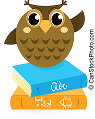 Cartoon Owl with books isolated on white - Wise Owl Mascot...