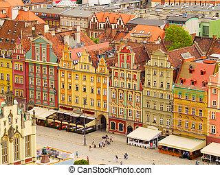 gammal, stad, Wroclaw, Polen