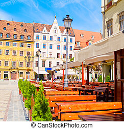old town of Wroclaw, Poland - street cafe at medieval market...