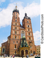 Saint Mary's church, Krakow, Poland - Facade of Saint Mary's...
