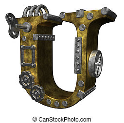 steampunk letter u on white background - 3d illustration