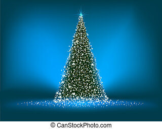 Abstract green christmas tree on blue EPS 8 - Abstract green...