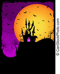 Haunted House on a Graveyard hill. - Vector Haunted House on...