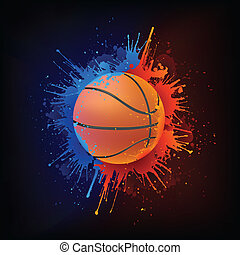 Basketball Ball in Paint isolated on Black Background....