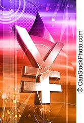 yen - Digital illustration of yen in colour background