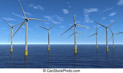 Windfarm Flyby Animation HD - Flyby offshore wind turbines....