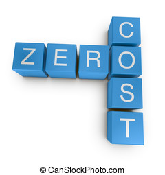 Zero cost 3D crossword on white background - Zero cost...