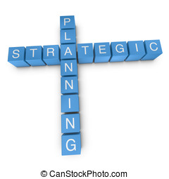 Strategic planning 3D crossword on white background -...