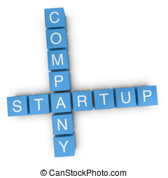 Startup company 3D crossword on white background - Startup...