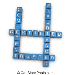 Qualities 3D rendered crossword on white background