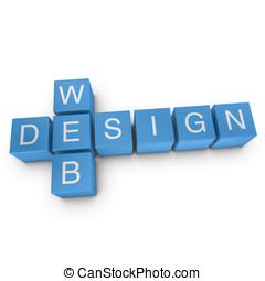 Web design 3D crossword on white background