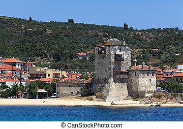 Phospfori tower in Ouranopolis, Athos Peninsula, Mount Athos, Chalkidiki, Greece