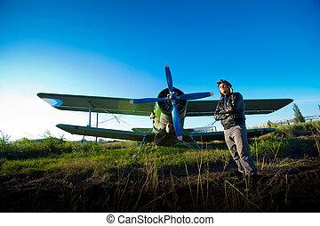 piloto, frente, vendimia, avión