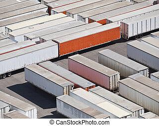Trailers - Trailer storage yard aerial in bright desert sun.