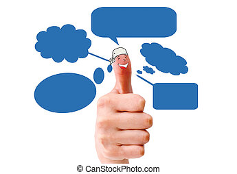 Happy  finger smileys holding   with social network sign