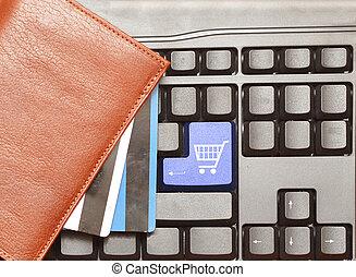 knapp, dator, inköp, kärra, tangentbord