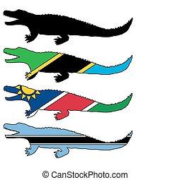 Nile crocodile flags
