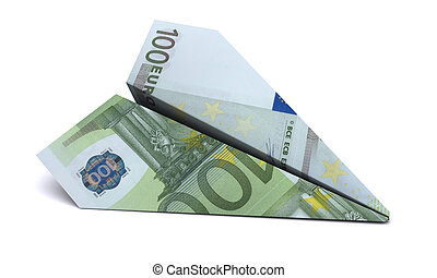 paper airplane from the euro on a white background
