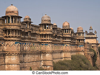Wall, fort, palace, facing, town, India's, Gwalior