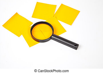 a magnifying glass hovering over the post-it Inspection