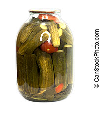In a glass jar marinaded cucumbers and tomatoes on a white background