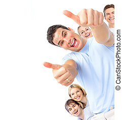 Happy people - Happy smiling people Isolated over white...