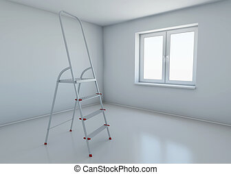 stepladder standing in the middle of the room without any...
