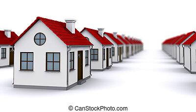 Grupo, casas, vermelho, telhados, profundidade, campo,...