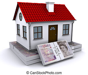 house with red roof on a bundle of pound sterling
