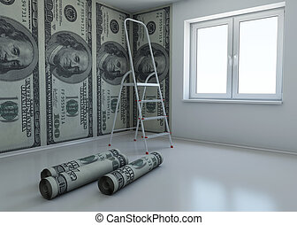 wallpaper patterned dollar as a symbol - the money for...